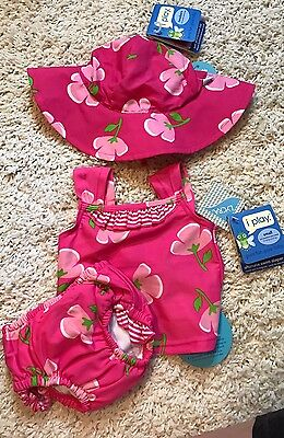 Baby Girl Swim Diaper Lot Tankini Hat 3-6 NWT Swimsuit Beach Set iplay New