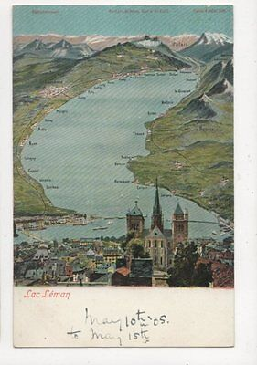 Lac Leman 1905 Postcard Switzerland 393a