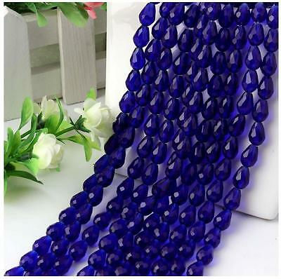 Newest 30pc Blue Faceted Glass Crystal Finding Teardrop Spacer Loose Beads 6x8mm