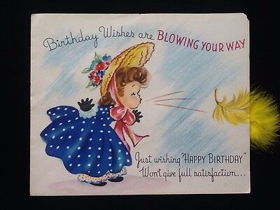 """Rare c1950's Vintage Birthday 'Artistic Greeting Card' 6"""" X 5"""" Girl/Feather"""