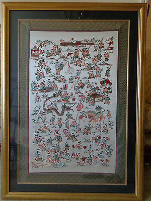 Beautiful High Quality Large Chinese Silk Embroidery Picture Oriental Framed