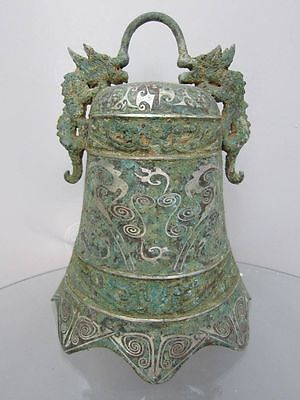 "10"" Chinese old Bronze Ware Double Dragon Bells Zhong Statue"
