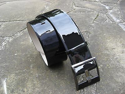 Cue Wide Black Patent Leather Curved Belt womens with large square buckle – XS/S
