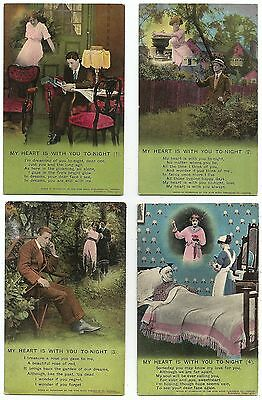 lo glamour set of 4 postcard s romance my heart is with you tonight
