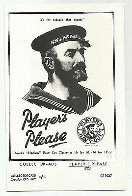 re advertising postcard england players cigarettes