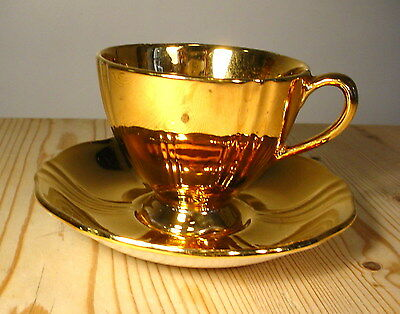 """Royal Winton """"Golden Age"""" Gold Demitasse Cup and Saucer"""