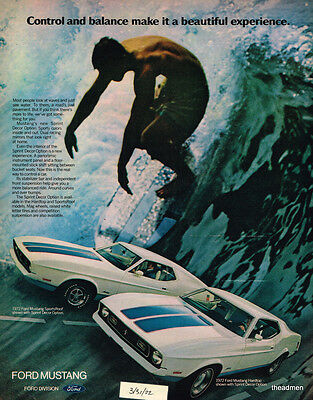 1972 Ford Mustang Vintage Original Laminated Ad Art