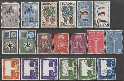 1957 Europa CEPT Year Set of 17. All Stamps as Issued Very Fine Used CDS Cancels