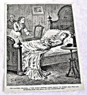 1878 magazine engraving ~ HAUNTED CHAMBER, woman on bed