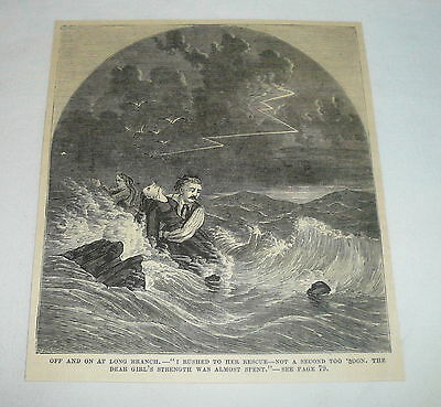 1877 magazine engraving ~ MAN RESCUING WOMAN FROM THE SEA