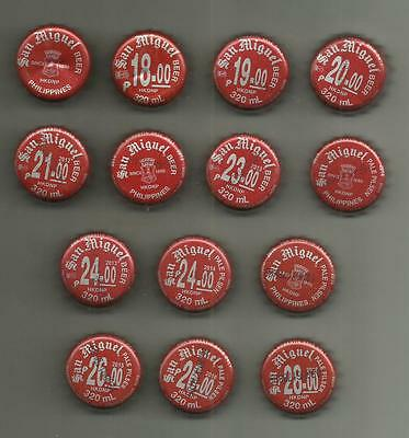 14 x Kronkorken / Bottle Crown Caps - SAN MIGUEL BEER - Philippinen - Bier