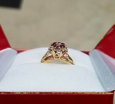 Vintage Flower Blossum Ring Ruby and Diamond 14k gold Size 8.25 Natural Rubies