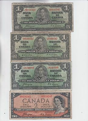 Canada Paper Money four old notes lower grade and up