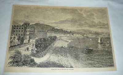 1877 magazine engraving ~ NICE, FROM THE PROMENADE DES ANGLAIS