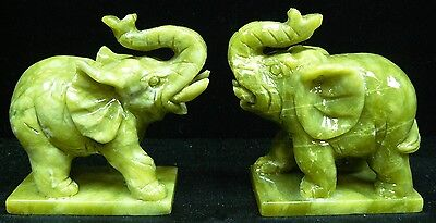 Factory Sale: Pair Of Real Jade Elephants (F1186)