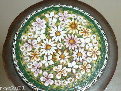 Trinket Jewellery Box Antique Italian Micro Mosaic Daisy Flowers Glass Tesserae