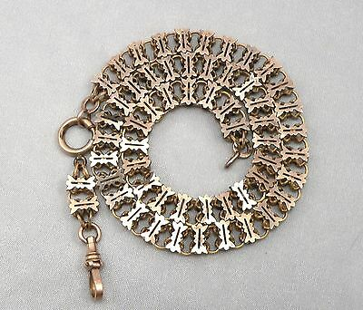 Antique Victorian BOOKCHAIN Book Chain NECKLACE Gold Filled GF/RGP Fancy Link