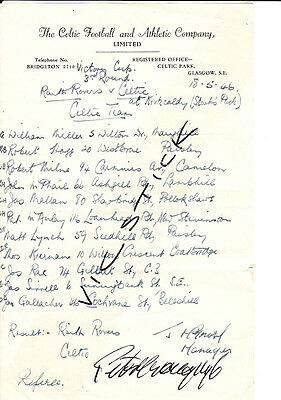 Raith Rovers v Celtic, Victory Cup 3rd round, 18th May 1946, Celtic team sheet