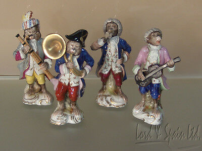 Volkstedt Porcelain Dresden 4 Pc Monkey Band Figurines-Tuba, Guitar, Bassoon
