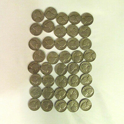 1950 Roll Of 40 Pcs Jefferson Nickels Circulated