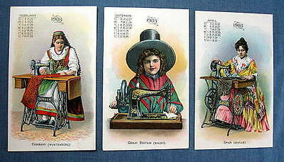Singer Sewing Machine Calendar Trade Cards 1903