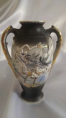 Small Dragonware Moriage Vase - Dragon Hand Decorated Double Handled Gold C4
