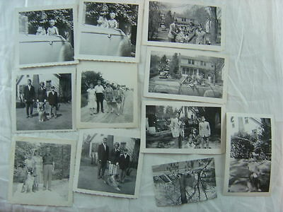 Lot of 11 Vintage Photos Collie Dog & 1941 Ford Convertible Car 773011