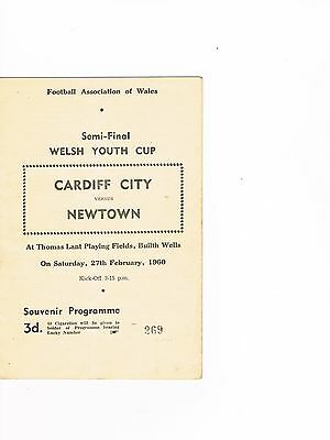 Cardiff City Youth v  Newtown Youth 59/60  Welsh Youth Cup Semi Final at Buith