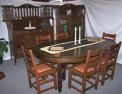 Antique Limbert Dining Room Set – Sideboard, China, Dining Table, 6 chairs
