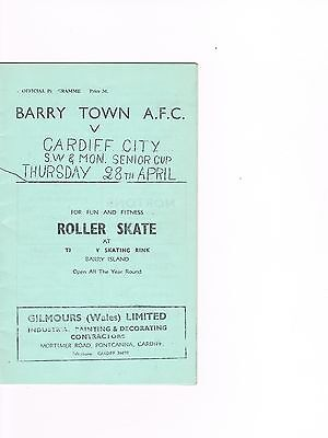 Barry Town v Cardiff City 59/60 South Wales & Mon Senior Cup Final