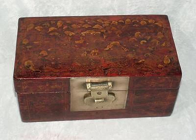 """EARLY 19th C CIRCA 1820 GEORGIAN CHINESE 11"""" LACQUERED LEATHER BOX TEA CADDY"""