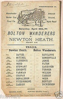 BOLTON WANDERERS v NEWTON HEATH (Manchester United) 1892 Programme reprint