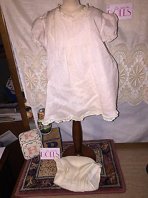 Pretty vintage sheer pink dress and slip with diaper for antique baby doll