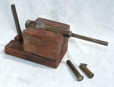 INTERESTING 19th CENTURY HOMEMADE BRASS TABLE DESK CANNON - TRENCH ART