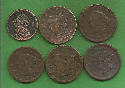 Five Large Cents & One Half Cent Culls (1808-1851)!!