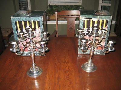 Pair of International Silver 5 Lite Candelabras Silver Plated In Original Boxes