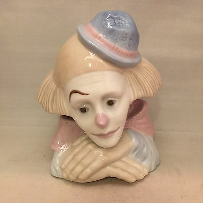 "Meico Pastel Porcelain Clown Bust Sad Face Figurine - 6.5"" Tall"