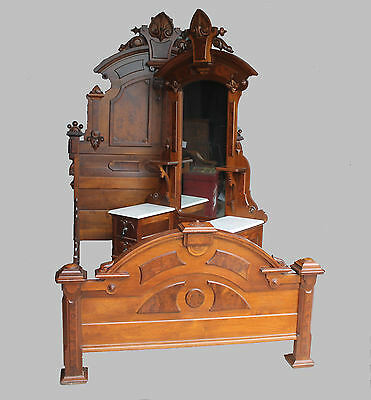 Antique American Victorian 2 piece Walnut Bedroom Set – 1870's