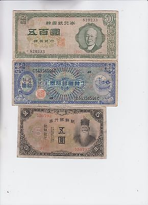 South Korea Paper Money 3 notes low grade and up