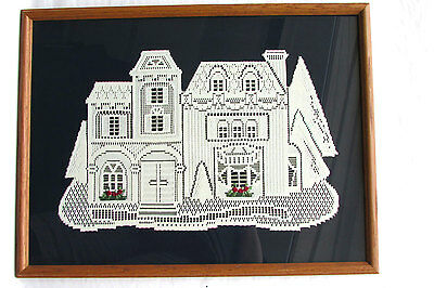 Large unique framed vintage wall hanging-handmade house from vintage lace fabric