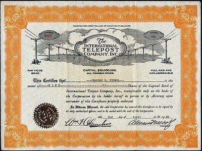 Internaional Telepost Co, Inc., 1928, Uncancelled Stock Certificate