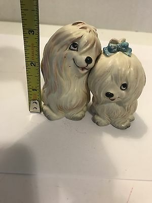 Vintage Lefton Japan White Maltese Puppy Dog Salt & Pepper Shakers Huggers H93