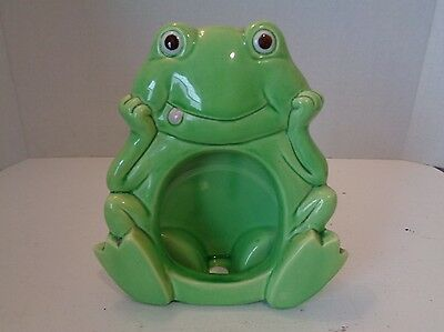 Vintage Green Ceramic Funny Frog Picture Frame Japan Kitschy Retro