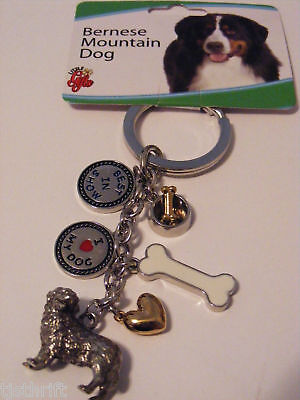 Metal 6-Charms Bernese Mountain Dog Key Chain Ring 4.5""