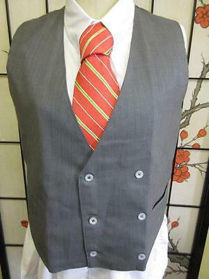 Quality Vtg 60s 70s MENS GREY BLUE WOOL SUIT VEST Waistcoat Double Breasted 42
