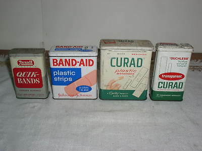 Lot of 4 Vintage 60's Band Aid Curad & Rexall Tins