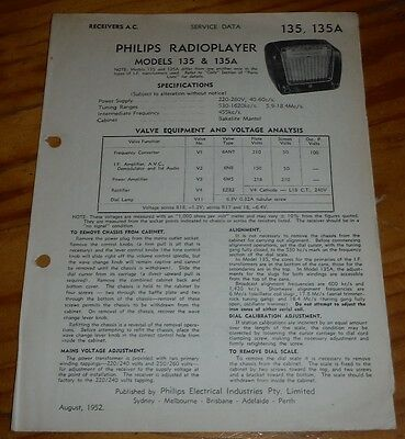 original Service Data for Philips portable Valve Radio Model 135 &135A 1952