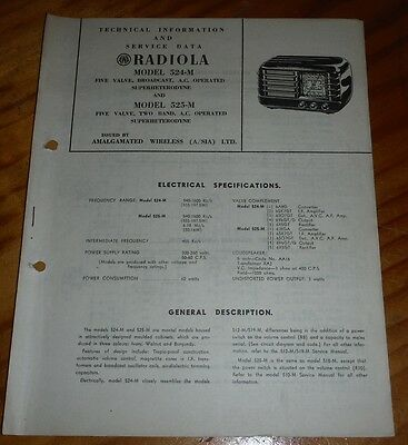 Technical & Service Data for AWA Radiola Model 524-M 1949 ( vintage radio )