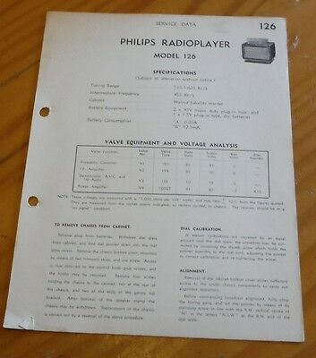 original Service Data for Philips radioplayer Model 126 vintage bakelite radio