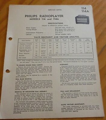 original Service Data for Philips radio player Model 114 114A  ( vintage radio )